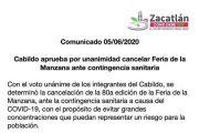 CABILDO APRUEBA POR UNANIMIDAD CANCELAR FERIA DE LA MANZANA ANTE CONTINGENCIA SANITARIA